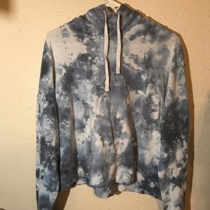 Blue and White Tye Dye Cropped Hoodie